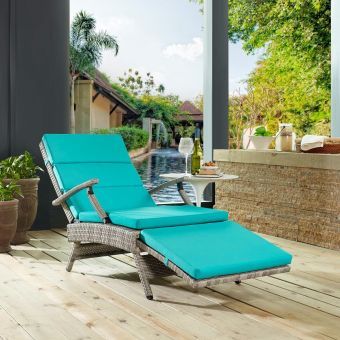 Envisage Chaise Outdoor Patio Wicker Rattan Lounge Chair in Light Gray Turquoise