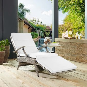 Envisage Chaise Outdoor Patio Wicker Rattan Lounge Chair in Light Gray White
