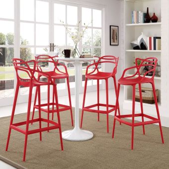 Entangled Bar Stool Set of 4 (Red)
