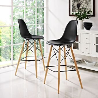 Pyramid Dining Side Bar Stool Set of 2 (Black)