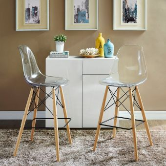Pyramid Dining Side Bar Stool Set of 2 (Clear)