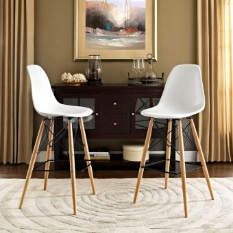 Pyramid Dining Side Bar Stool Set of 2 (White)