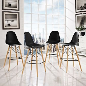 Pyramid Dining Side Bar Stool Set of 4 (Black)