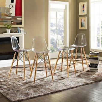 Pyramid Dining Side Bar Stool Set of 4 (Clear)