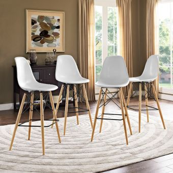 Pyramid Dining Side Bar Stool Set of 4 (White)