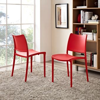 Hipster Dining Side Chair Set of 2 (Red)