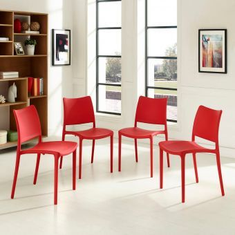 Hipster Dining Side Chair Set of 4 (Red)