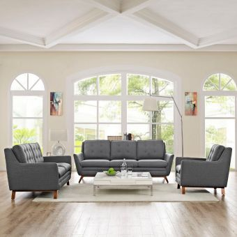 Beguile Living Room Set Upholstered Fabric Set of 3 (Gray)