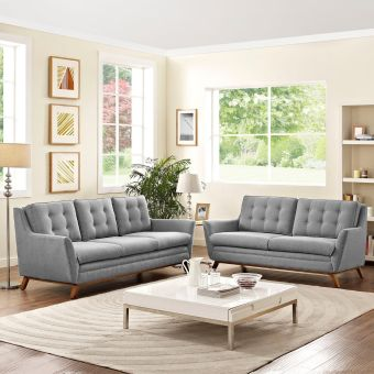 Beguile Living Room Set Upholstered Fabric Set of 2 (Expectation Gray)