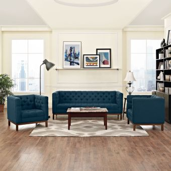 Panache Living Room Set Upholstered Fabric Set of 3 (Azure)