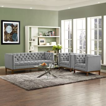 Panache Living Room Set Upholstered Fabric Set of 3 (Expectation Gray)