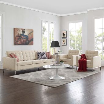 Loft 3 Piece Upholstered Fabric Sofa and Armchair Set (Beige)