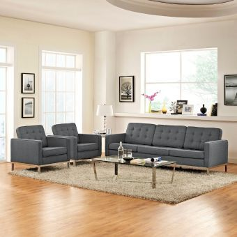Loft 3 Piece Upholstered Fabric Sofa and Armchair Set (Gray)