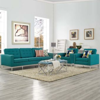Loft 3 Piece Upholstered Fabric Sofa and Armchair Set (Teal)