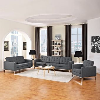 Loft 3 Piece Upholstered Fabric Sofa Loveseat and Armchair Set (Gray)