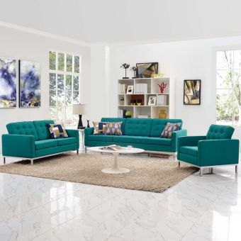 Loft 3 Piece Upholstered Fabric Sofa Loveseat and Armchair Set (Teal)