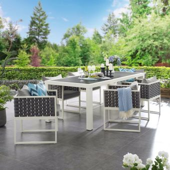 Stance 7 Piece Outdoor Patio Aluminum Dining Set in White Gray
