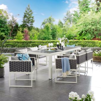Stance 9 Piece Outdoor Patio Aluminum Dining Set in White Gray