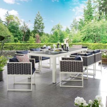 Stance 9 Piece Outdoor Patio Aluminum Dining Set in White Navy
