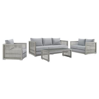 ✅ Aura 4 Piece Outdoor Patio Wicker Rattan Set in Gray | VivaSalotti.com | pic14