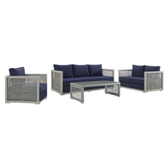 ✅ Aura 4 Piece Outdoor Patio Wicker Rattan Set in Gray Navy | VivaSalotti.com | pic6