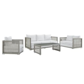 ✅ Aura 4 Piece Outdoor Patio Wicker Rattan Set in Gray White | VivaSalotti.com | pic13