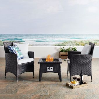 Convene 3 Piece Set Outdoor Patio with Fire Pit in Espresso White