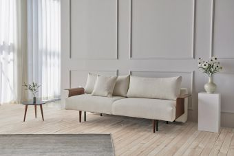 Frode Dark Styletto Sofa Bed Walnut Arms, 531 Bouclé Off White