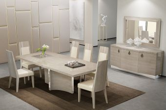 ✅ Giorgio Modern Extendable Dining Room Set, Light Maple | VivaSalotti.com | pic