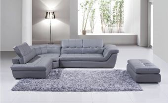 ✅ 397 Italian Leather Sectional Grey Color in Left Hand Facing Chaise | VivaSalotti.com | pic1