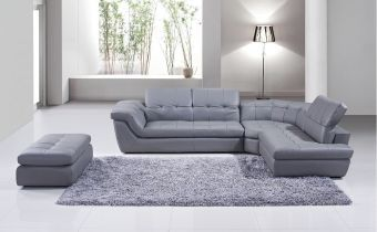 ✅ 397 Italian Leather Sectional Grey Color in Right Hand Facing Chaise | VivaSalotti.com | pic1