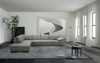 ✅ 625 Italian Leather Sectional Grey in Left Hand Facing  | VivaSalotti.com | pic1