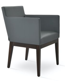 Harput Leatherette Dining Armchair w/Wood Base, Grey