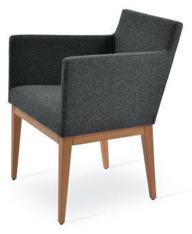Harput Camira Blazer Wool Dining Armchair w/Wood Base, Dark Grey
