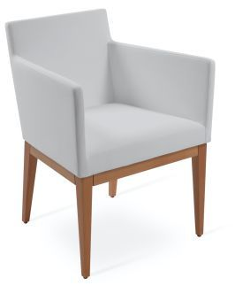 Harput Leatherette Dining Armchair w/Wood Base, White