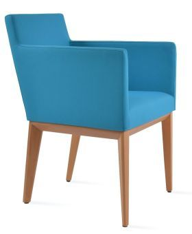 Harput Camira Era Fabric Dining Armchair w/Wood Base, Turquoise
