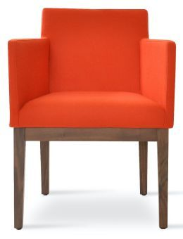 Harput Camira Blazer Wool Dining Armchair w/Wood Base, Orange