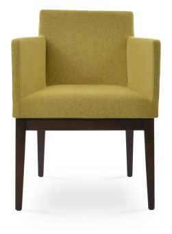 Harput Camira Blazer Wool Dining Armchair w/Wood Base, Amber