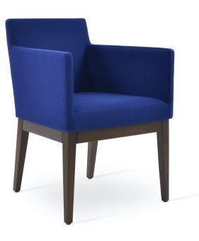 Harput Camira Blazer Wool Dining Armchair w/Wood Base, Royal Blue