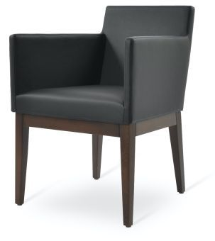Harput Leatherette Dining Armchair w/Wood Base, Black