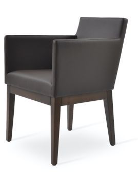 Harput Leatherette Dining Armchair w/Wood Base, Brown