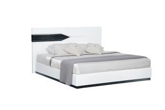 Hudson Zebra Grey and White High Gloss Queen Bed