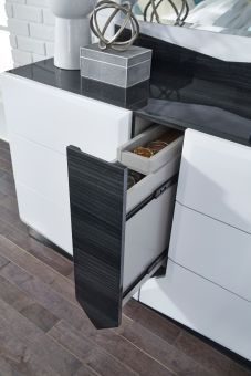 Hudson Zebra Grey and White High Gloss Dresser