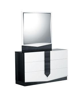 Hudson White High Gloss and Zebra Grey Mirror