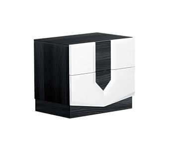 Hudson Zebra White and Grey High Gloss Nightstand