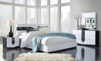 ✅ Hudson Zebra Grey and White High Gloss Bedroom Set | VivaSalotti.com | pic