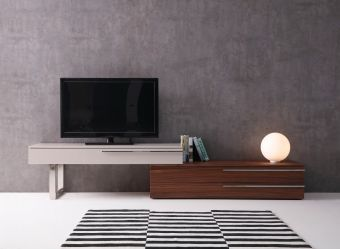 ✅ Hudson TV Base in Walnut & Taupe | VivaSalotti.com | pic