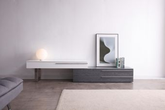 ✅ Hudson TV Base in Grey & White | VivaSalotti.com | pic1