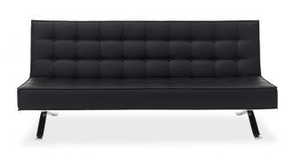 ✅ Premium Sofa Bed JK044-3 in Black Leatherette | VivaSalotti.com | pic2
