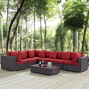✅ Convene 7 Piece Outdoor Patio Sectional Set | VivaSalotti.com | pic